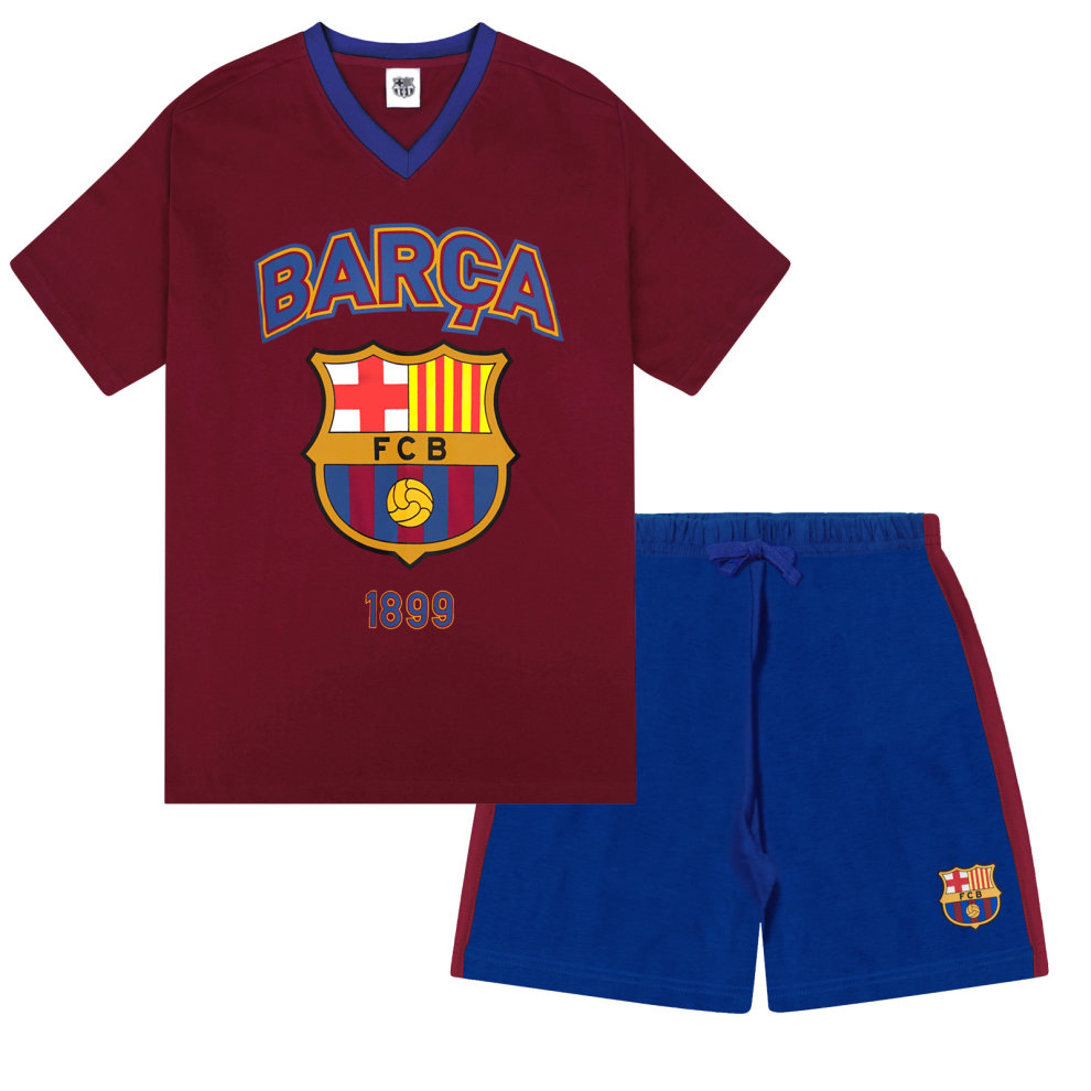 (Medium) FC Barcelona Official Football Gift Mens Short Pyjamas Loungewear