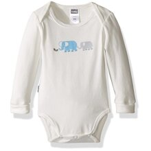 Kushies Baby Boys Mix N Match Long Sleeve Bodysuit Ecru Elephants 01M
