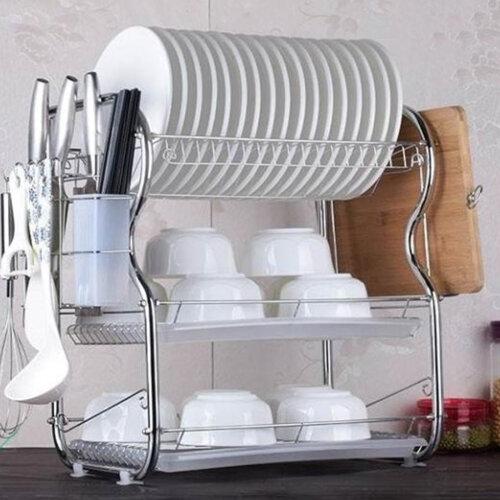3 Tier Dish Drainer Holder Kitchen Cutlery Rack Drip Storage Tools