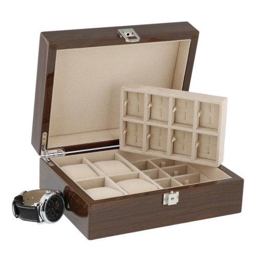 Lacquered Walnut Watch Box 4 Wrist watches 16 Pairs Cuffliks   Aevitas
