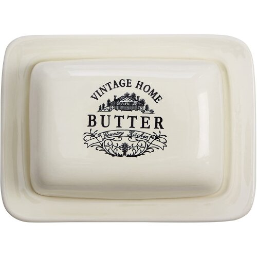 Premier Vintage Home Butter Dish Cream Ideal For Kitchen and Domestic