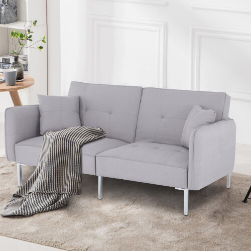 Modern Fabric 3 Seater Grey Sofa Bed Living Room Recliner Couch Sofa