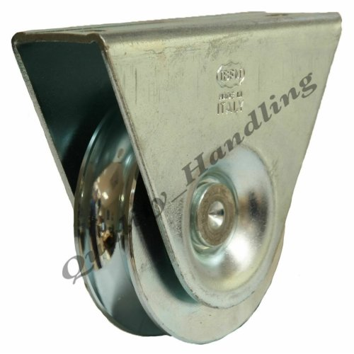 80mm pulley wheel in bracket guide wheel steel wheel 16mm 'U' groove