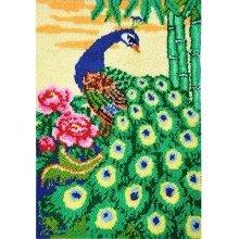 "Latch Hook Rug Kit""Peacock in the Garden"" 105x75cm"