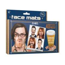 Party Face Mats Funny Drinking Wear Fancy Dress Drinks Coasters Novelty Gift