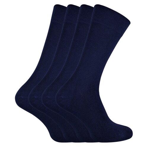(7-11 UK, Navy) SOCK SNOB - 4 Pairs Bamboo Super Soft Suit Socks for Men & Women