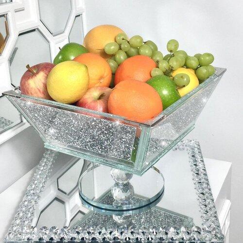 XXL Crush Diamond Fruit Bowl Silver Romany Square Crushed Bling