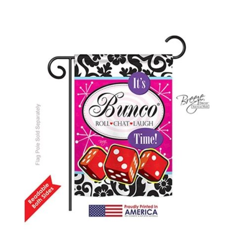 Breeze Decor 65098 Its Bunco Time 2-Sided Impression Garden Flag - 13 x 18.5 in.