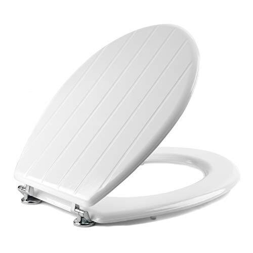 Beldray LA033758 Tongue and Groove Toilet Seat, Wood, White