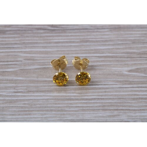 9ct Gold 3 mm Round Round November Yellow Topaz Birthstone Earrings