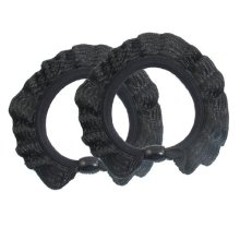 Uxcell 2 Piece Rubber Ruffle Bead Decor Ponytail HolderHairband Rings, Black, 0.02 Pound
