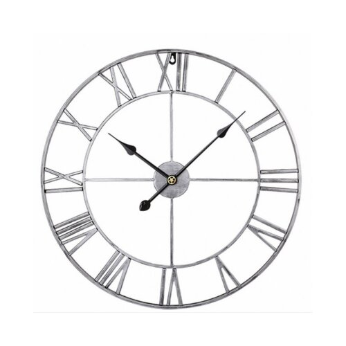 40CM Metal Roman Wall Clock Big Numerals Giant Large Skeleton Sliver