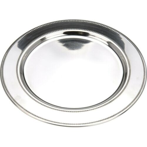Set of 4 Stainless Steel Charger Plates 33cm Rippled Design Under Plates