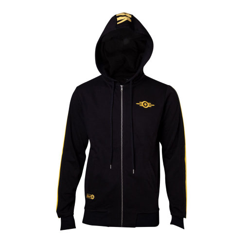 FALLOUT 76 Vault-tec Full Length Zipped Hoodie, Male, Extra Large, Black/Yellow (HD003754FAL-XL)