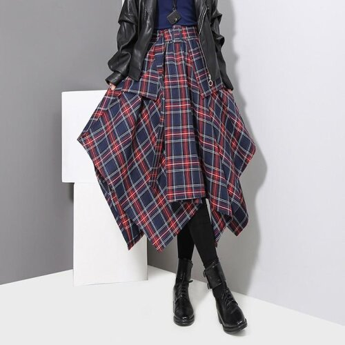 (As Seen on Image) Woman Red Plaid Printed High Belted Ladies Casual Unique Skirt (Blue One Size)