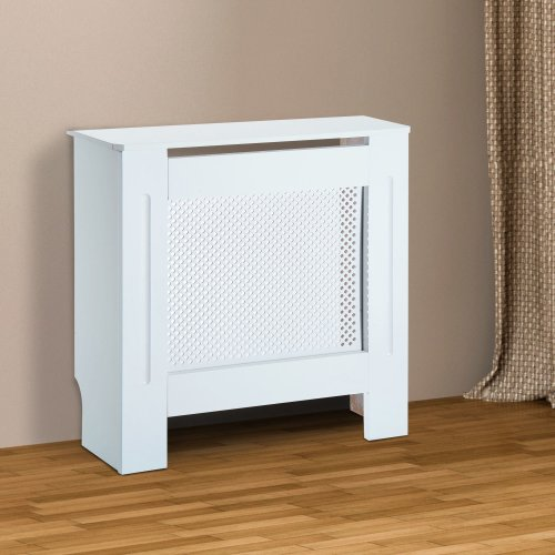 Wooden Grill Radiator Cover   White Heater Cabinet
