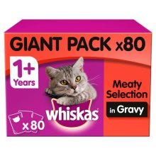 80pc Whiskas 1+ Cat Food Pouches Meat Selection In Gravy