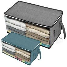 LARGE STORAGE Foldable Clothes Boxes Bag Zipped Wardrobe Tidy Organizer