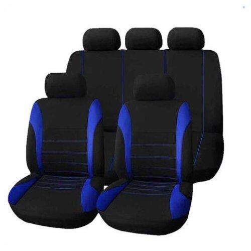 9Pc Universal Car Seat Covers – Black & Blue