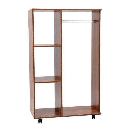 HOMCOM Flatpack Open Walnut Wardrobe| Bedroom furniture Wardrobe with Clothes Hanging Rail and Storage Shelves