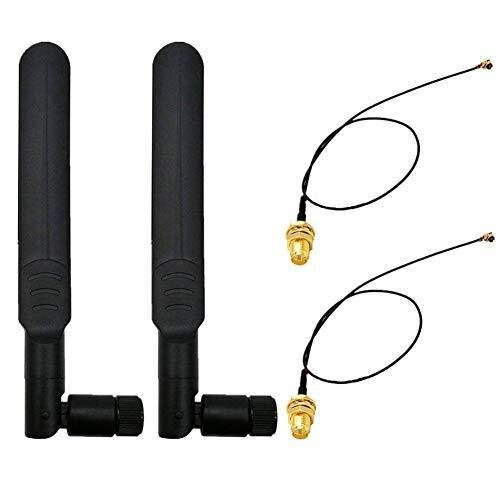 WayinTop 2Set 8dBi 2.4GHz 5GHz Dual Band Wireless Network WiFi RP-SMA Male Antenna + 20cm U.FL/IPEX to RP-SMA Female Pigtail Cable for Mini PCIe Car