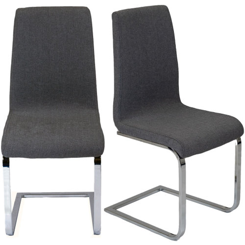 2x Dining Chairs Grey Fabric Chrome Kitchen Dining Room Set Furniture Pair Padded