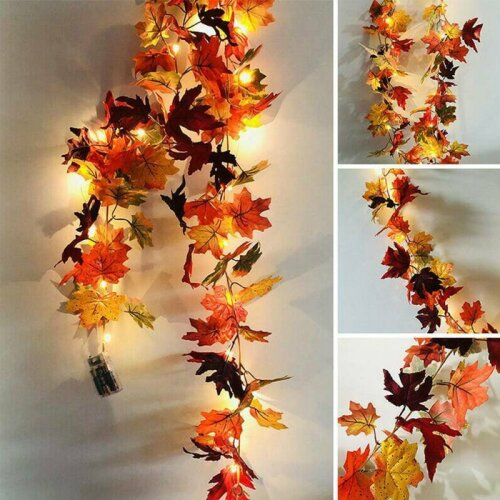 Halloween LED Light Autumn Fall Maple Leaves Garland Hanging Plant