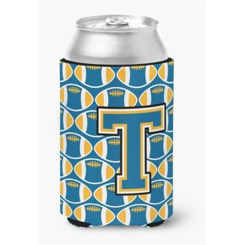 Letter T Football Blue & Gold Can or Bottle Hugger, 0.25 x 4 x 5.5 in.