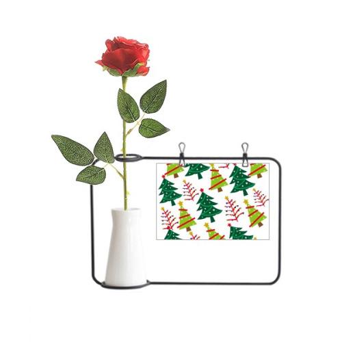 Merry Christmas Tree Green Illustration Artificial Rose Flower Hanging Vases Decoration Bottle