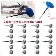 24x Car Tubeless Tyre Repair Kit Wired 36mm Mushroom Plug Patch Tools