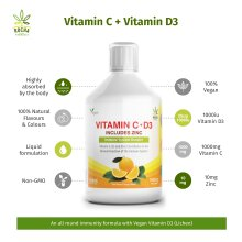 Vitamin D3 (Vegan) + Vitamin C + Zinc Immune Support Liquid Shot 500ml 1000iu