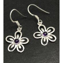 Real amethyst gemstone flower drop earrings, solid Sterling silver.