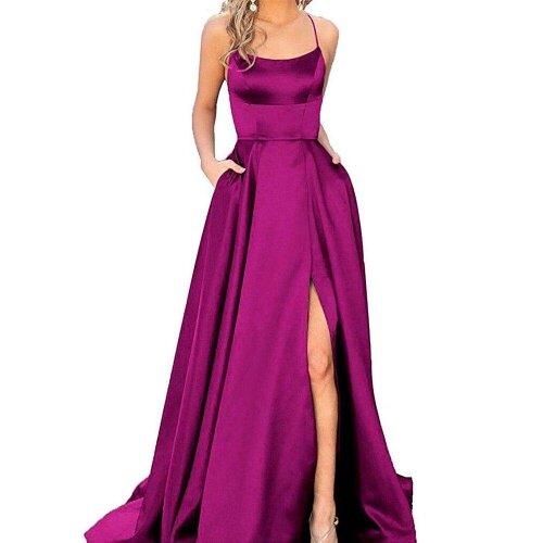 (Fuchsia, 2) Cross Back Long Prom Dress