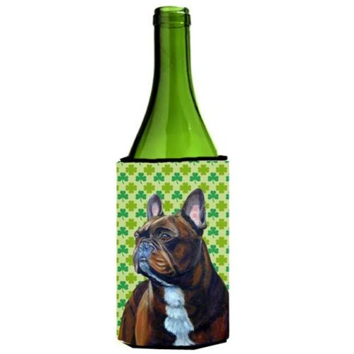 French Bulldog St. Patricks Day Shamrock Wine bottle sleeve Hugger 24 oz.