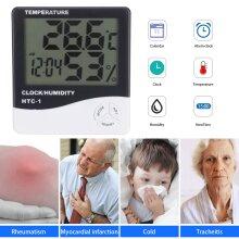 Thermometer Digital LCD Hygrometer Room Indoor Temperature Clock