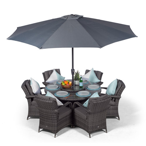 Set Giardino In Rattan.Arizona 135cm Round 6 Seater Rattan Dining Set Grey On Onbuy