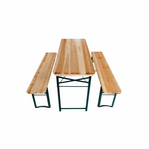 3pc Folding Wooden Picnic Table & Bench Set
