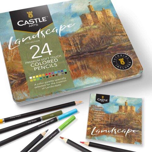 Castle Arts Landscapes Themed 24 Piece Coloured Pencil Set in Tin Box