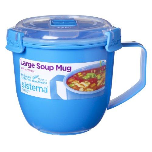 Sistema Large Klip It Microwave Soup To Go Mug, 900ml, Blue
