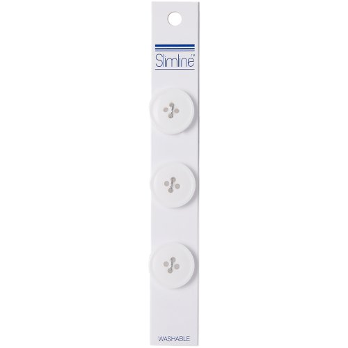 "Slimline Buttons Series 1-White 4-Hole 3/4"" 3/Pkg"