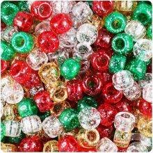 100 Christmas Sparkle Pony Bead Mix 9mm x 6mm