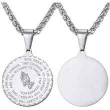Praying Hand Pendant,Stainless Steel Bible Verse Medal Christian Jewellery Prayer Necklace
