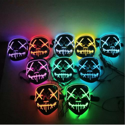 Halloween Party LED Face Mask Purge Scary LED Cosplay Mask-Orange