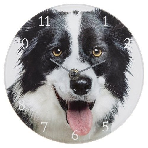 Dog Breed Glass Clock - 17cm Wall or Standing  -Border Collie