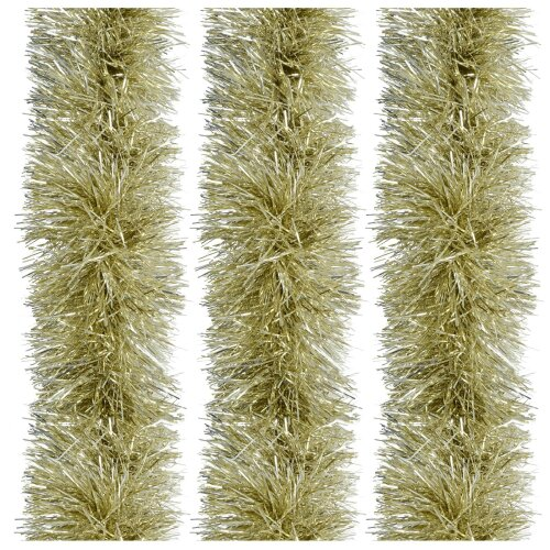 Pack Of 3 x 2m Luxury Tinsel 15cm Thick Christmas Tree Decoration - Champagne