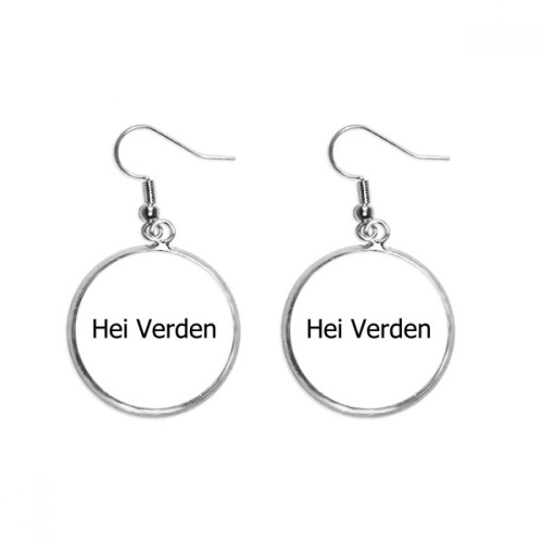 Hello World Norwegian Language Ear Dangle Silver Drop Earring Jewelry Woman