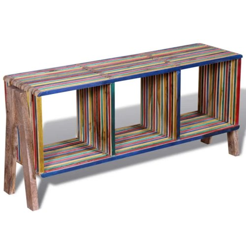 TV Cabinet with 3 Shelves Stackable Reclaimed Teak Colourful Handmade