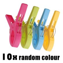 10x Beach Towel Clips Plastic Quilt Pegs for Laundry Sunbed Lounger Cl