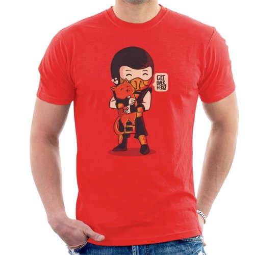 (X-Large, Red) Cute Scorpion Get Over Here Mortal Kombat Men's T-Shirt