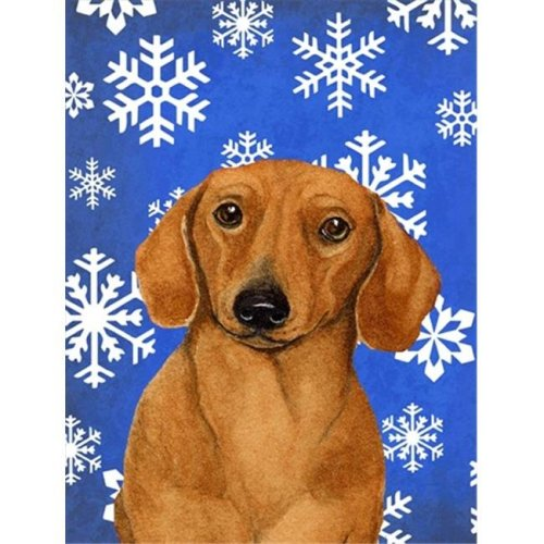 11 x 15 in. Dachshund Winter Snowflakes Holiday Garden Size Flag